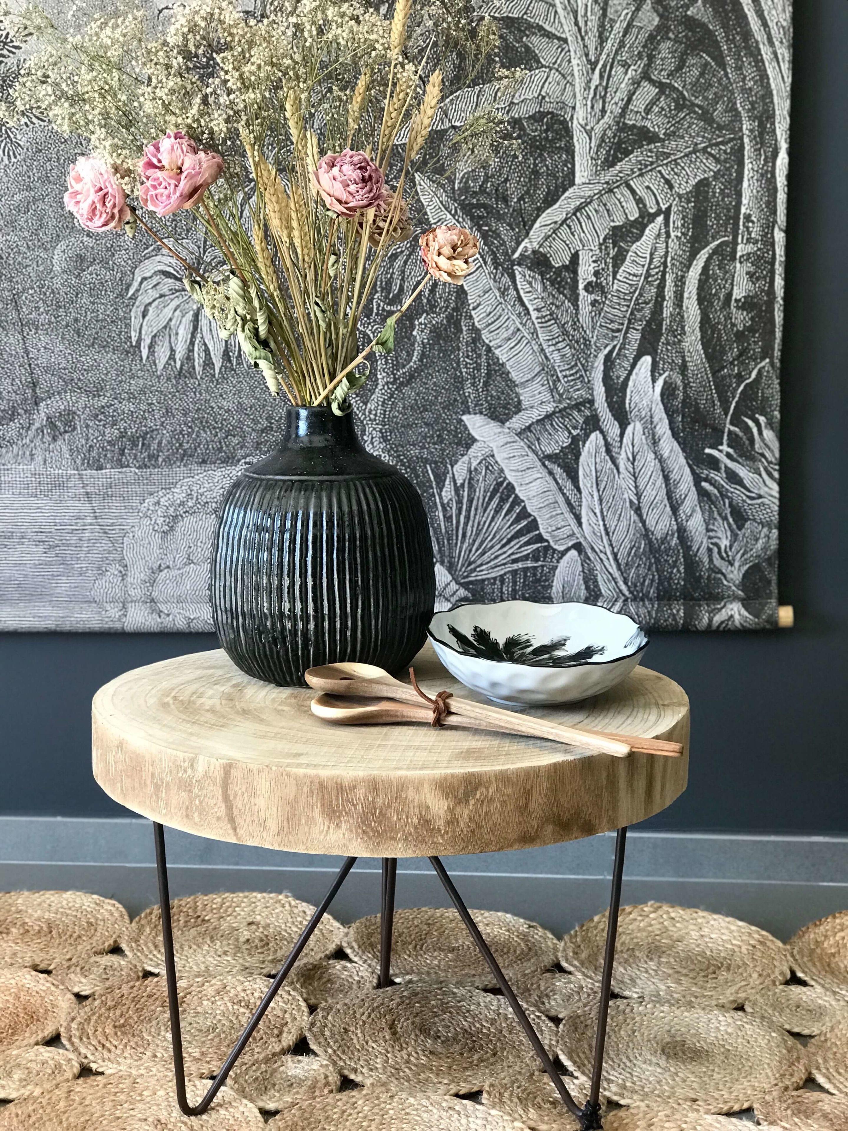 Sellette rondin de bois et pieds en métal - Maison Saint Sa