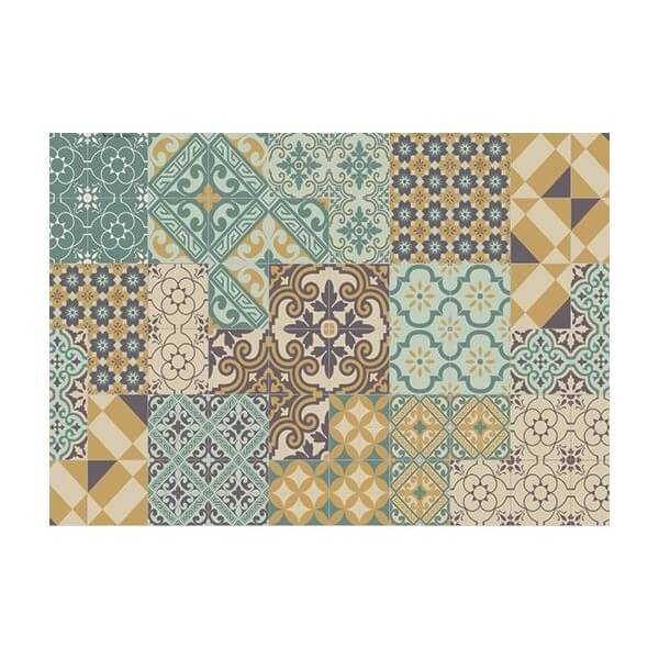 set de table imprim carreaux de ciment eclectic vert et moutarde beija flor maison saint sa. Black Bedroom Furniture Sets. Home Design Ideas