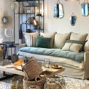 panier tapis motifs berbères canapé coussins