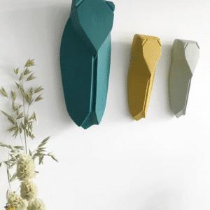 cigale en argile emeraude jaune verte