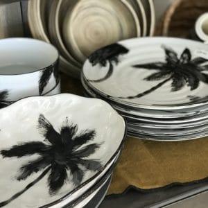 assiette céramique palmier noir et blanc hk Living