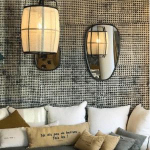 ambiance papier peint motifs coussins luminaires