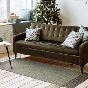tapis vinyle vert canape coussin
