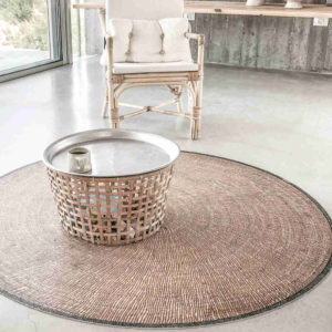 tapis rond vinyle table basse
