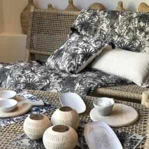 housse de coussin et d'édredon harmony mobilier naturel set de table palmiers mahe