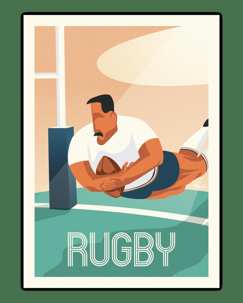 affiches rétro côte ouest rugby
