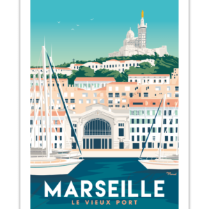 affiches rétro provence marseille le vieux port