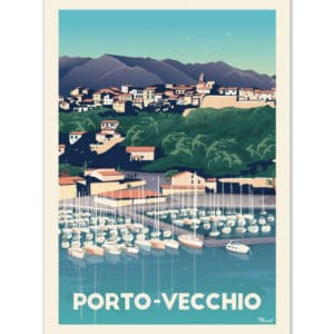 affiches retro corse marcel Porto vecchio le port