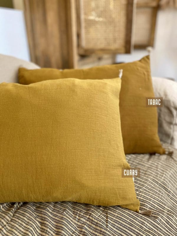 coussin curry et tabac indian song en lin rajasthan