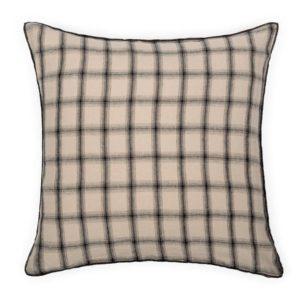 taie oreiller en lin à carreaux beige et noir