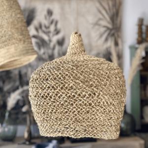 abat-jour rond en fibre de palmier
