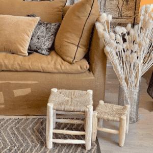 tabouret en bois naturel canapé